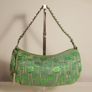 ELLIOTT LUCCA Green Fabric Leather Trim Bag